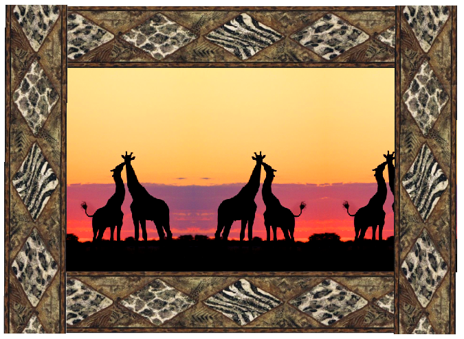 Giraffe Kissing Border4