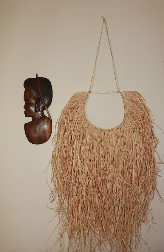 Handmade Natural Raffia Wall Hanging with Beads