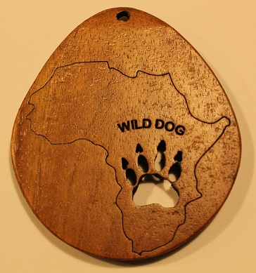 Wooden Giant Keyring Africa Wild Dog Spoor
