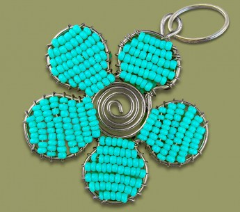 beaded-key-ring-flower