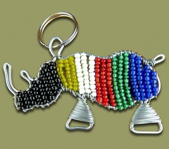 beaded-key-ring-rhino-sa-flag-colours.1